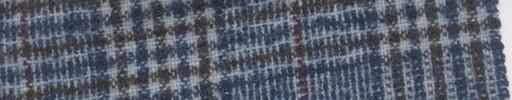 【Mi_5w014】ブルー系ファンシーグレンチェック+7×7cmダークパープルプレイド