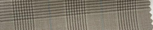 【Hs_cb04】ライトブラウングレンチェック+4.5×3.5cm水色ウィンドウペーン