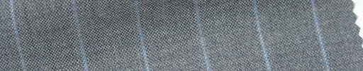 【Cb_6s088】ミディアムグレー+1.4cm巾水色ストライプ