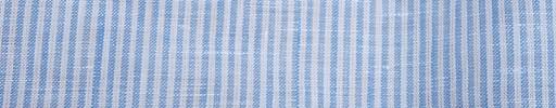 【Ib_linen05】ライトブルー×白2ミリ巾白ストライプ