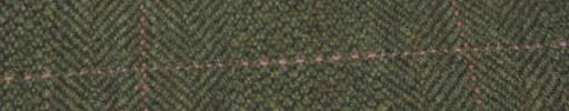 【Hs_gm06】ダークグリーン・ブロークンヘリンボン+8.5×6.5cmピンク×サーモンプレイド