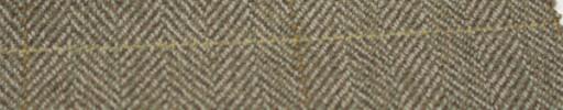 【Hs_gm09】ブラウングリーンミックス1.8cm巾ヘリンボン+9×6cmゴールド×イエロープレイド