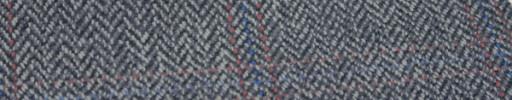 【Hs_gm19】ブルーグレー8ミリ巾ヘリンボン+8×6cmファンシープレイド