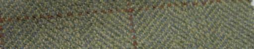 【Ph_gl46】グリーンイエロー・ブロークンヘリンボーン+5.5×4.5cmブラウンプレイド