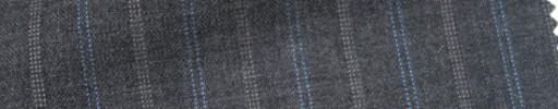 【Cb_Ls90】ミディアムグレー+1.7cm巾水色・ドット交互ストライプ