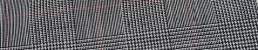 【Hr_Mys18】白黒5.5×4.5cmグレンチェック+赤ウィンドペーン