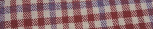 【Hs_ac05】レッド・オフホワイトギンガム+4×3cmライトブループレイド