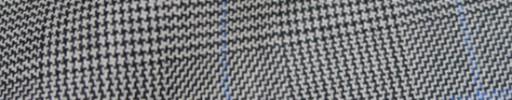 【Hs_8ct28】白・黒グレンチェック+6×4.5cm水色オーバープレイド