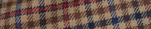 【Ha_8mb42】ブラウンミックスガンクラブチェック+8×7.5cm赤・ブループレイド