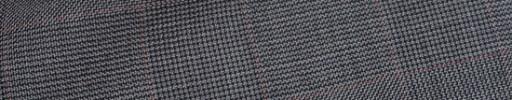【Hre_9w02】ミディアムグレー6.5×5.5cmグレンチェック+薄赤ペーン