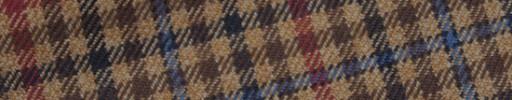 【Hs_m9w29】ブラウンミックスガンクラブチェック+6×5cmブルー・赤ペーン