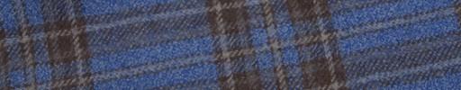 【W.b_9w18】ライトブルー+7×6.5cmブラウンチェック