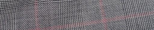 【Ha_8fc78】白黒グレンチェック+6.5×5.5cm薄赤ペーン