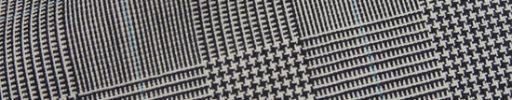 【Fx_ct51】オフホワイト黒7.5×5.5cmグレンチェック+ライトブルーペーン