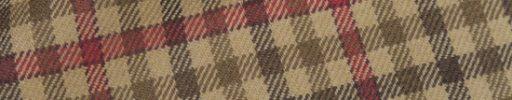 【Hs_0as05】ベージュ・ライトブラウン・ブラウンガンクラブチェック+6×5cm赤ペーン